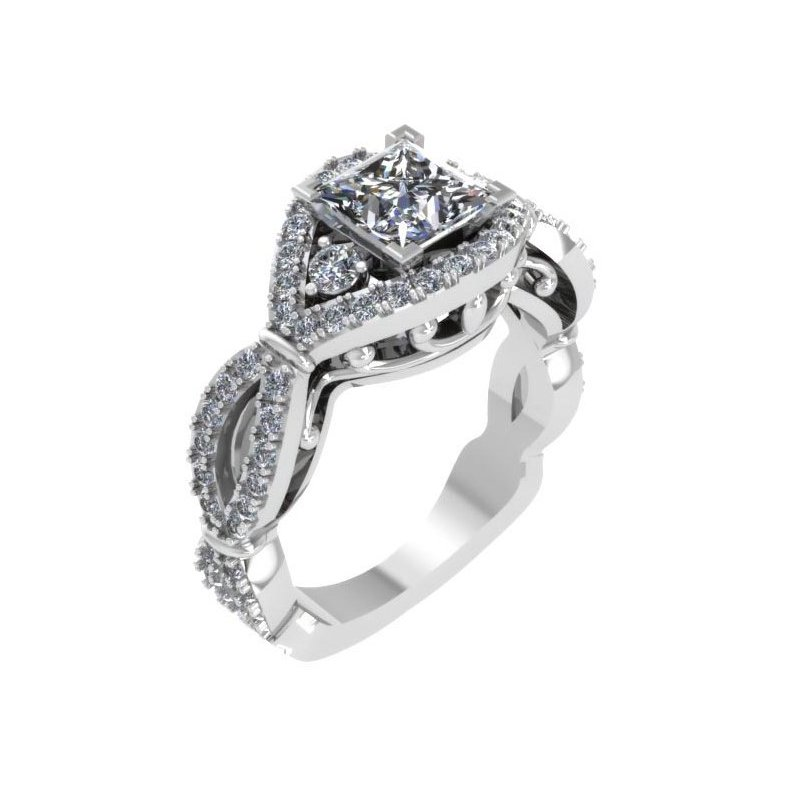 Isadora Vintage Engagement Ring 18KW - Setting Only