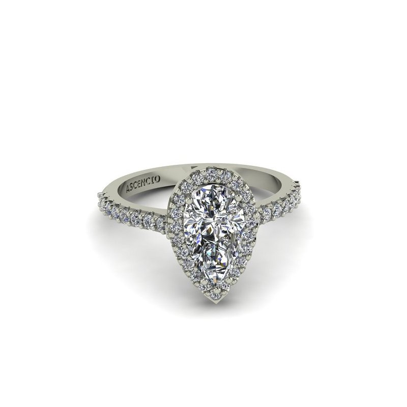 Ascencio Designs Pear Halo Engagement Ring