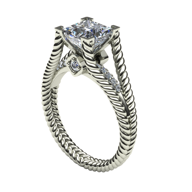 Daniels Designs Rope Diamond Engagement Ring