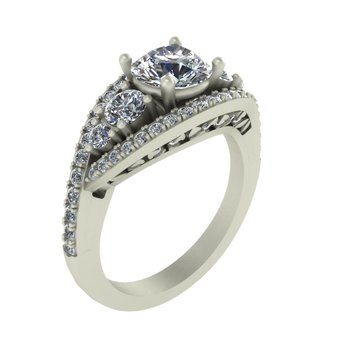 Vintage Diamond Engagement Ring - Setting Only