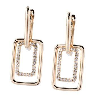Open Rectangle Dangle Earrings 14KY