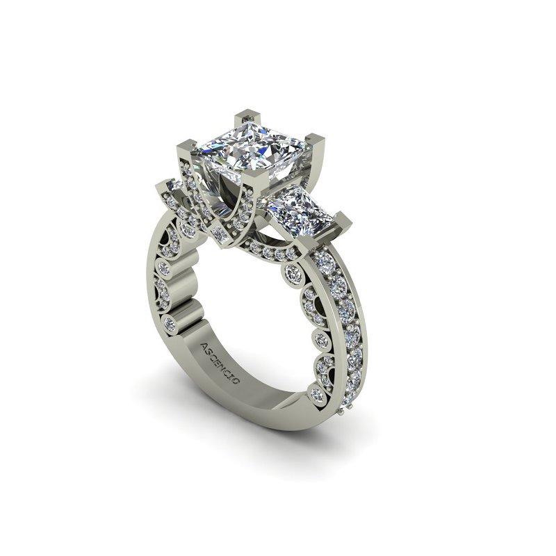 Ascencio Designs Modern Three Stone Ring