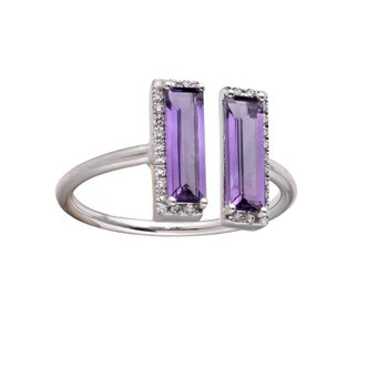 Amethyst & Diamond Split Ring 14KW