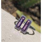 Sophia by Design Amethyst & Diamond Split Ring 14KW