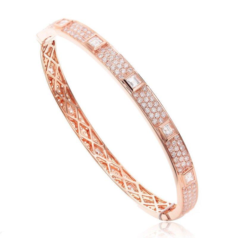 London Gold Designs Eternity Diamond Bangle Bracelet 18KR