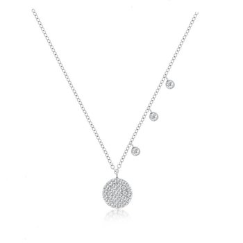 Pave Signature Disc Necklace 14KW