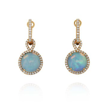 Opal Dangle Earrings 18KR