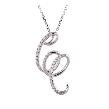 Swirl Diamond Pendant 14KW