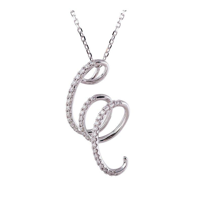 Sophia by Design Swirl Diamond Pendant 14KW