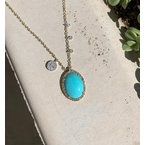 Meira T Turquoise Charm Necklace 14KY