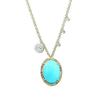 Turquoise Charm Necklace 14KY