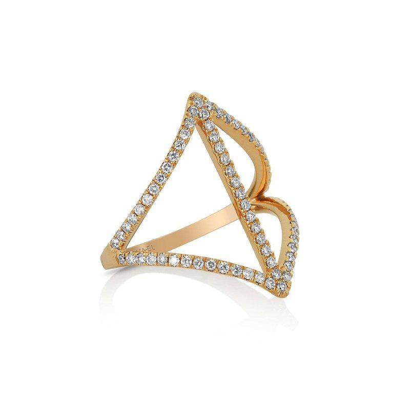 Yael Designs Modern Open Diamond Ring 18KR