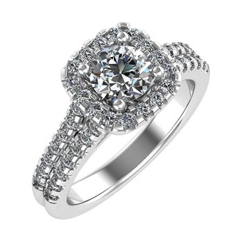 Halo Engagement Ring 18KW - Setting Only