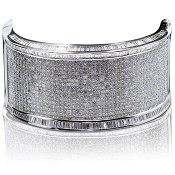 Wide Diamond Bangle 18KW