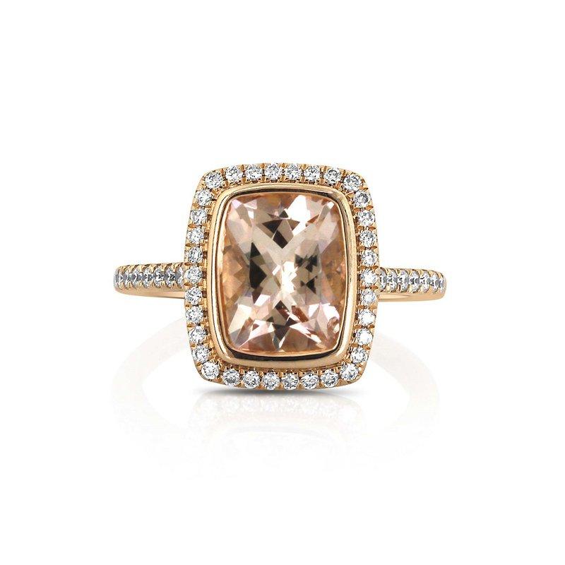 Yael Designs Morganite & Diamond Halo Ring 18KR