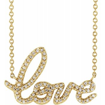 Love Diamond Necklace 14KY