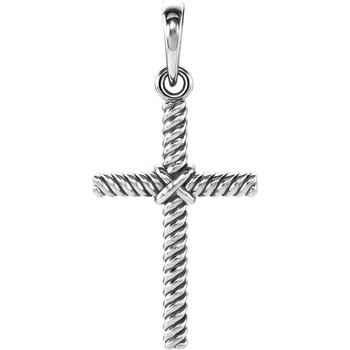 Rope Cross Charm 14K