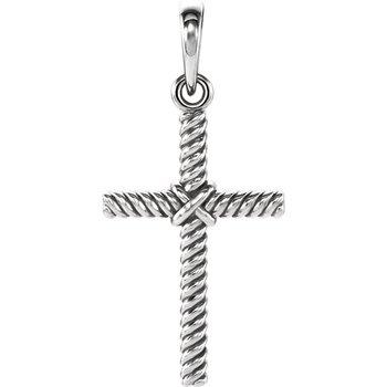 Rope Cross Charm 14K