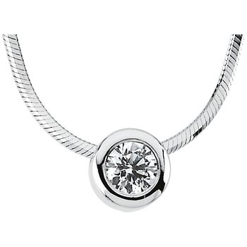 Diamond Solitaire Necklace 14KW