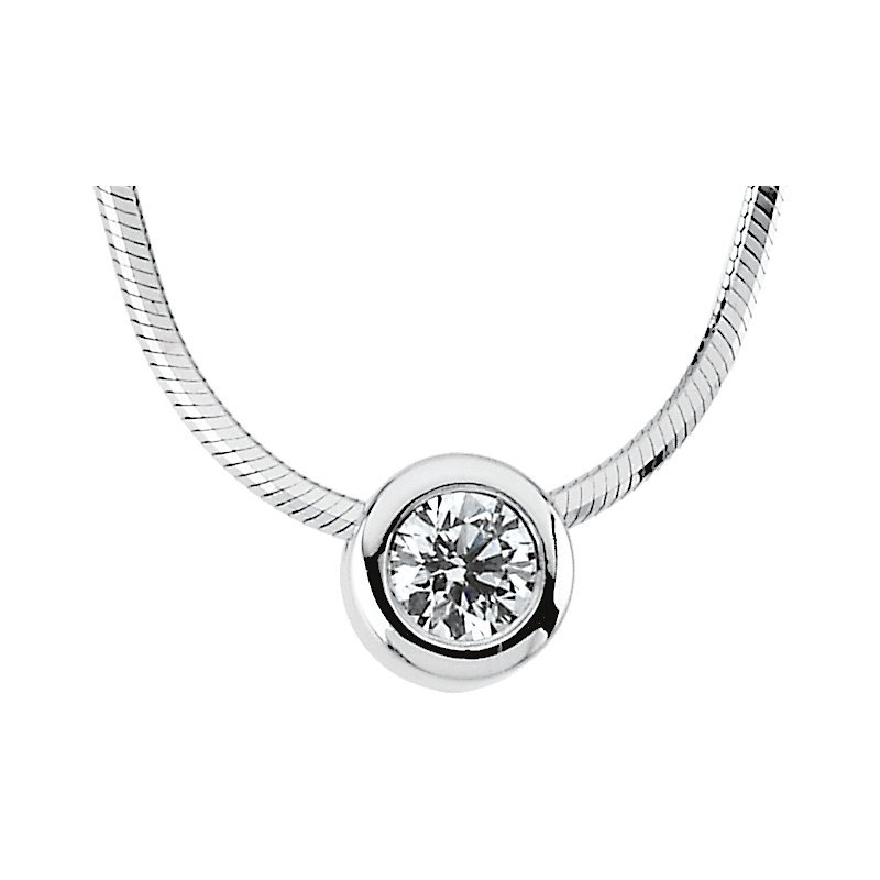Gallery Designs Diamond Solitaire Necklace 14KW