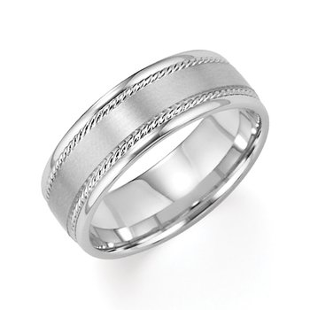 14KW Brushed & Plush Engraved Wedding Band