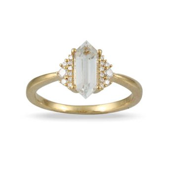 White Topaz Ring 18KY