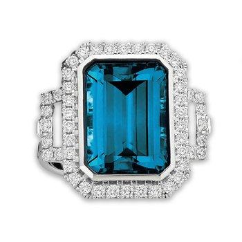 Art Deco Style London Blue Topaz Ring 18KW