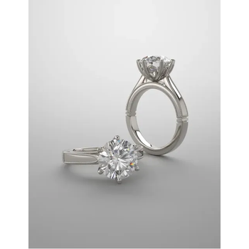 14K White Milgrain Solitaire Setting Only