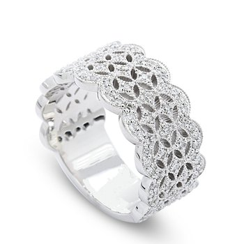Lace Pattern Diamond Band 14KW