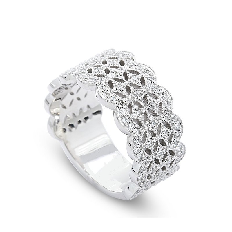 Lunaria Lace Pattern Diamond Band 14KW