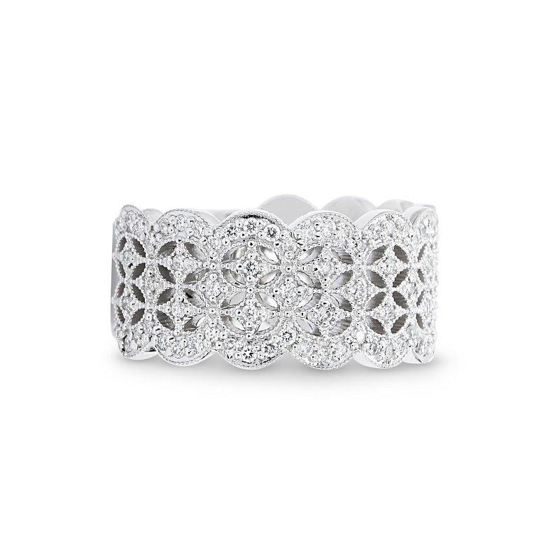 Lunaria Lace Pattern Diamond Band 14KW