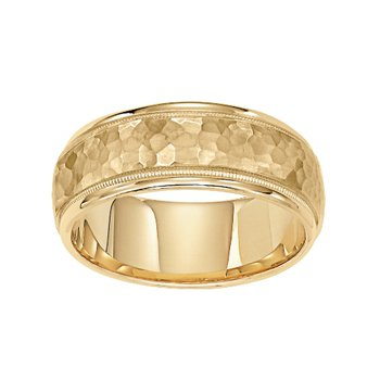 14KY Hammered Yellow Gold Comfort Fit Engraved Wedding Band