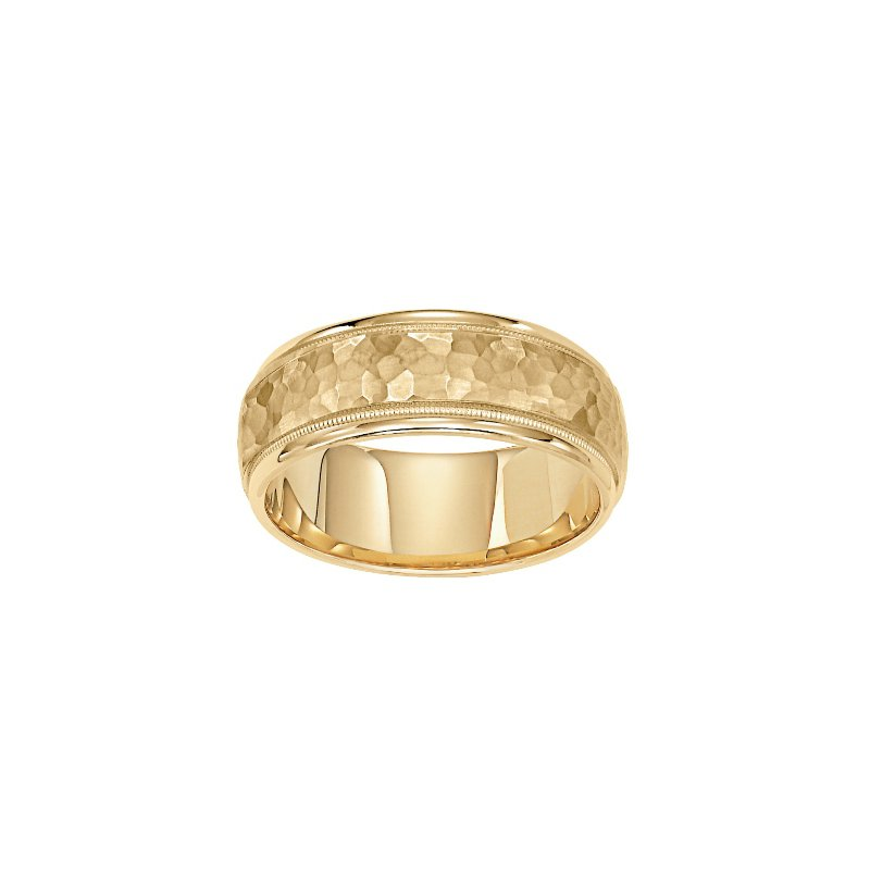 Frederick Goldman 14KY Hammered Yellow Gold Comfort Fit Engraved Wedding Band