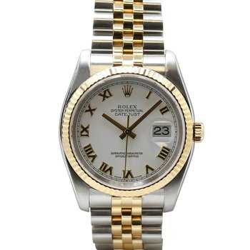 Datejust Steel & 18KY White Roman Dial 116233