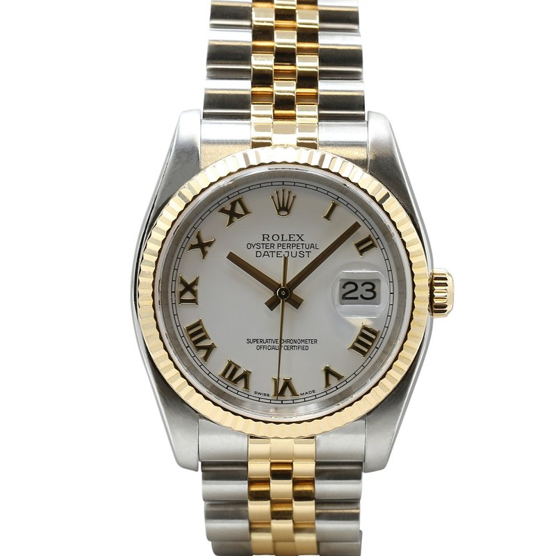 Rolex Pre-Owned Watches Datejust Steel & 18KY White Roman Dial 116233