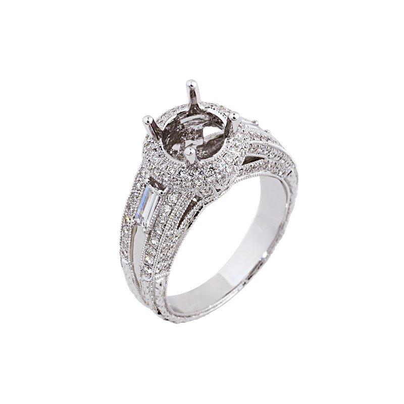 Yael Designs Halo Engagement Ring Setting 18KW