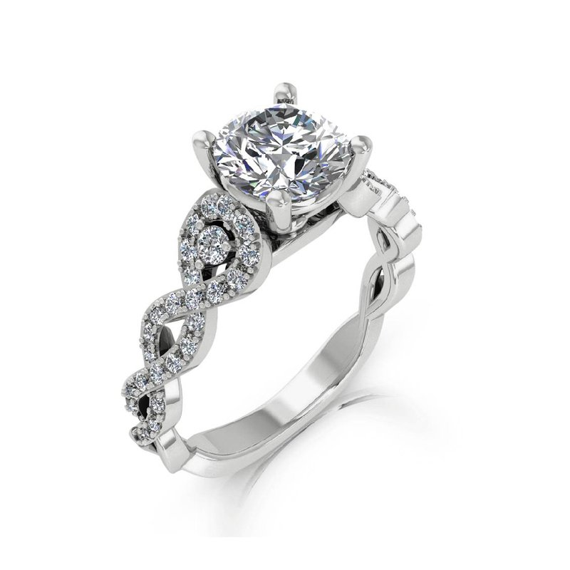 Isadora Twist Engagement Ring 18KW - Setting Only