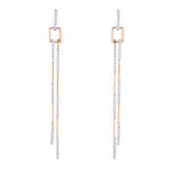 Linear Diamond Dangles 14K