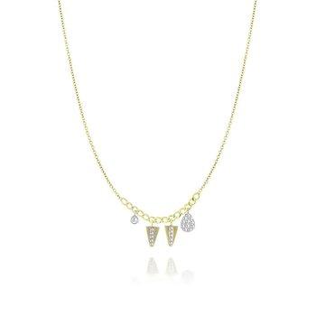 Pave Charm Necklace 14KY