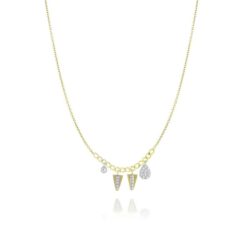 Meira T Pave Charm Necklace 14KY