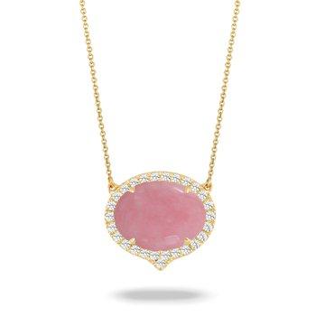 Dahlia Pink Opal Halo Pendant 18KY