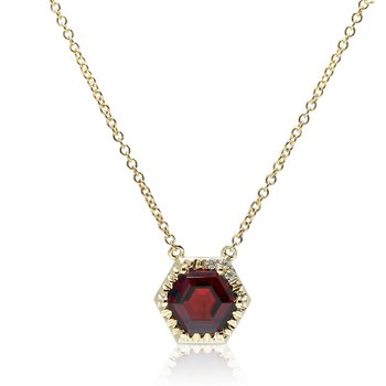 Hexagon Garnet Necklace 14KY