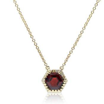 Hexagon Garnet Necklace 14KY