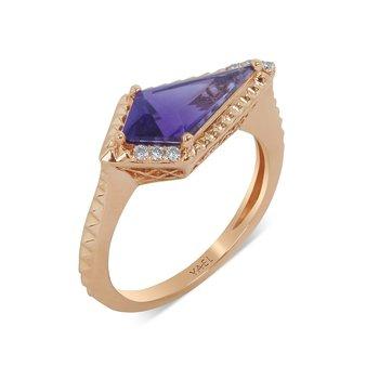 Amethyst & Diamond Ring 14KR