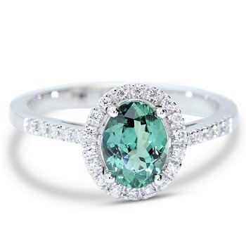 Natural Alexandrite Halo Ring 18KW
