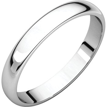 14K White 3mm Half Round Light Band