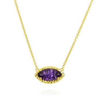 Marquise Amethyst Necklace 14KY
