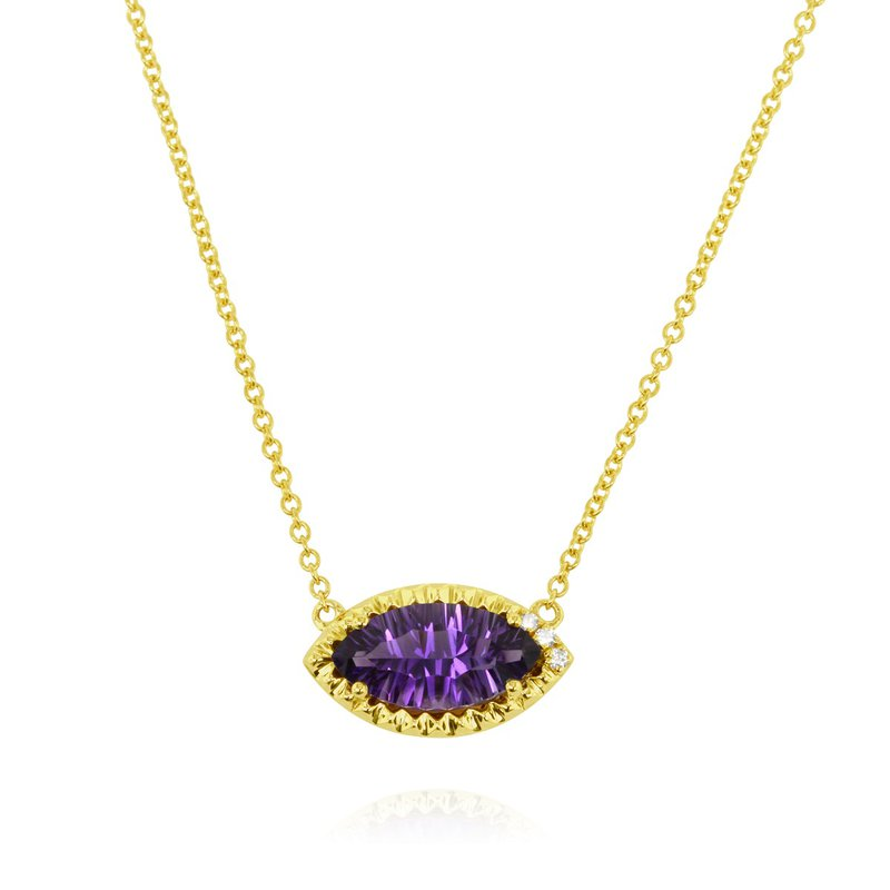 Yael Designs Marquise Amethyst Necklace 14KY