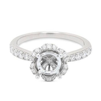 Scallop Halo Engagement Ring - Setting Only