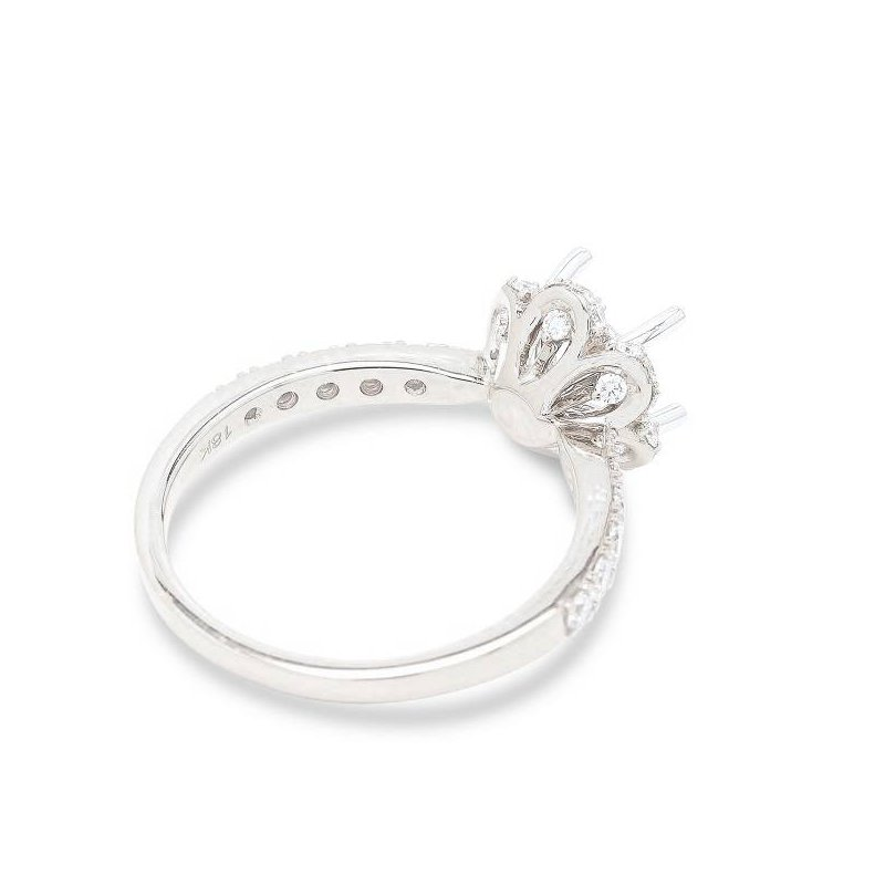 Isadora Scallop Halo Engagement Ring - Setting Only